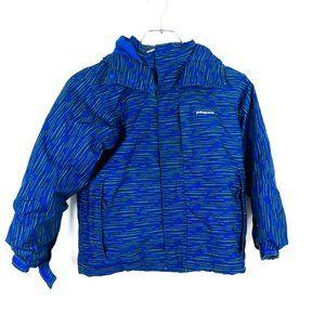 Patagonia Boy's Sidewall Jacket Blue Green Detachable Hood Small 8